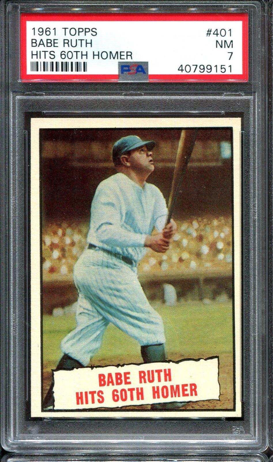 1961 topps 401 babe ruth hits 60th homer psa 7 very sharp