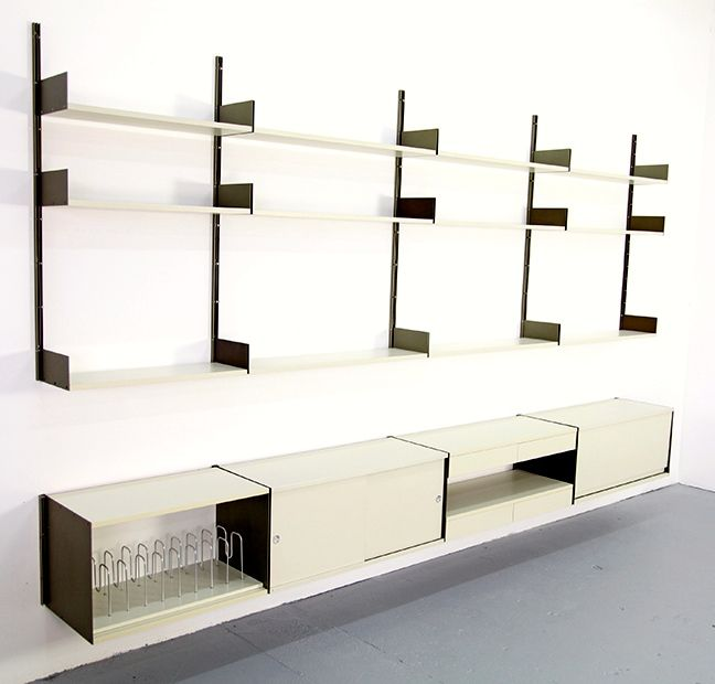 dieter rams 606 lacquered wood and aluminum storage system for vits