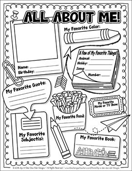 FREE All About Me Activity Worksheet Template {Zip-A-Dee