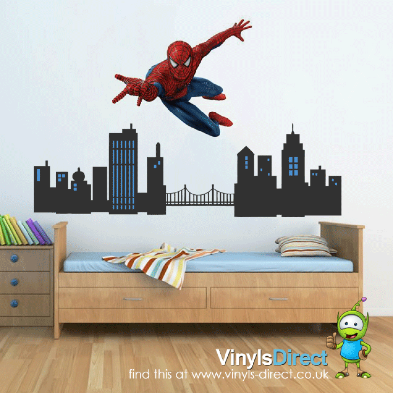 Spiderman City Scene Wall Sticker All Product Catalogue - Spiderman wall decals uk
