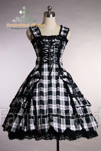 Gothic Lolita Heart Pocket Scallop Winter Plaid Dress/JSK