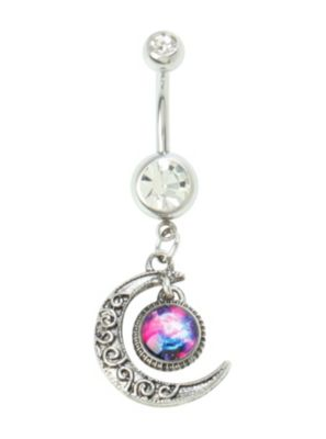 14g Steel Moon Galaxy Navel Barbell Hot Topic Navel Jewelry Belly Jewelry Belly Button Piercing Jewelry