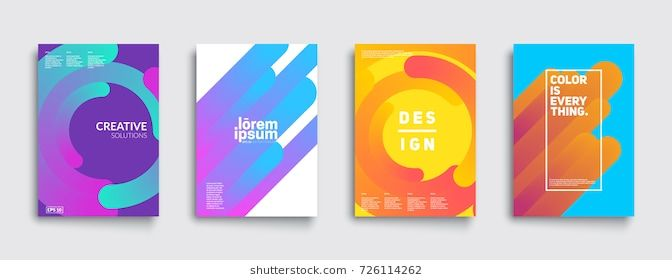 Modern Abstract Covers Set Cool Gradient Shapes Composition