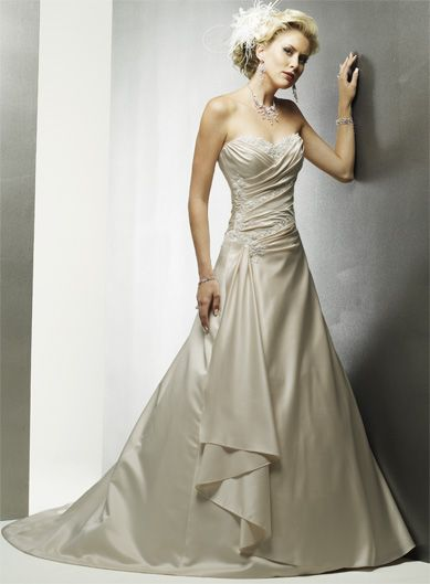Cheap Bridal Shop Simple A-Line Sweetheart Beading Ruched Satin ...