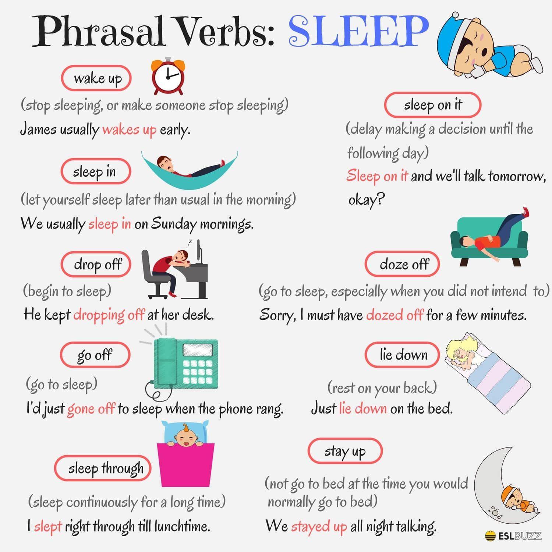 Useful Phrasal Verbs In English Sleep Eslbuzz Learning English English Vocabulary Words Learn English Words Learn English Vocabulary [ 1500 x 1500 Pixel ]
