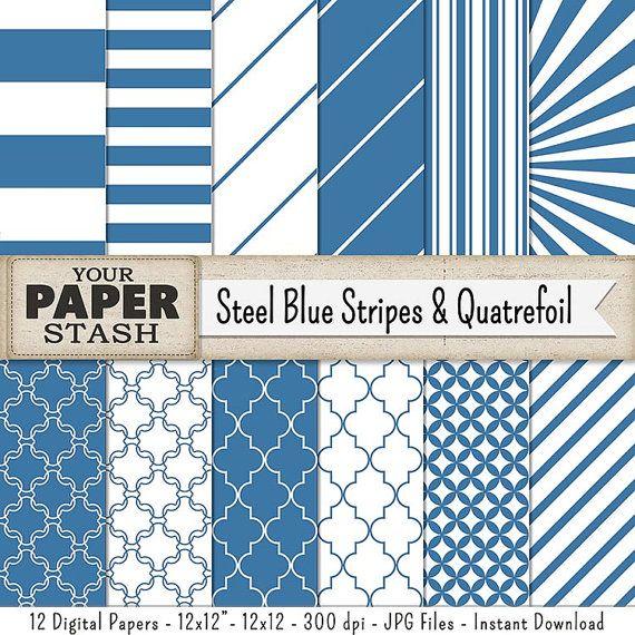 Blue Striped Digital Paper Quatrefoil Paper Blue by YourPaperStash