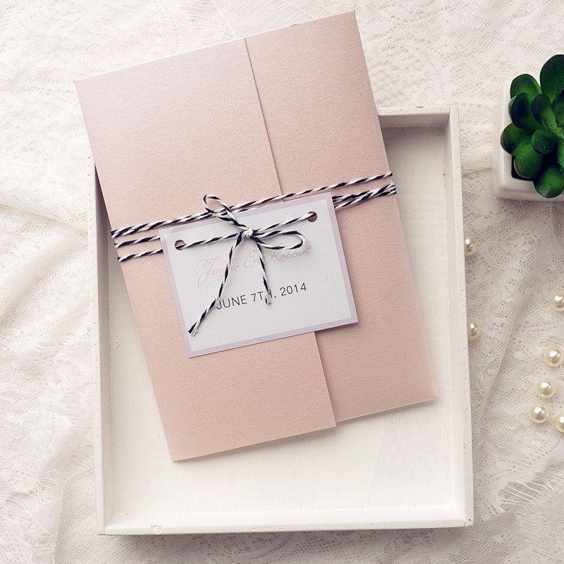 Clic Pink Pocket Wedding Invitation Kits With Tags Iwpi033