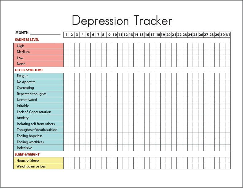 Depression Symptoms Tracker Sleep And Weight Printable Diary