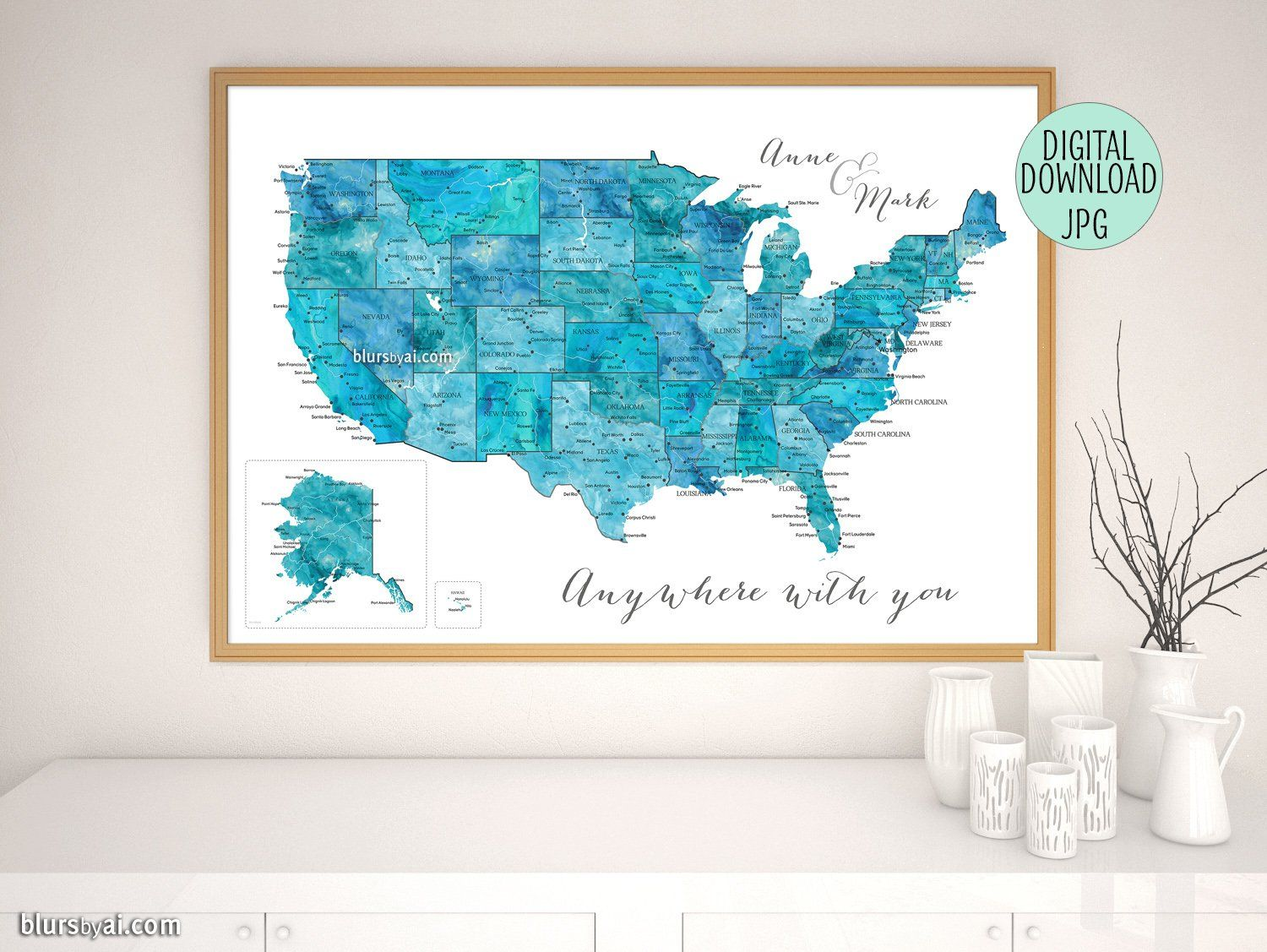 Personalized printable map of the usa with states and main cities in ...