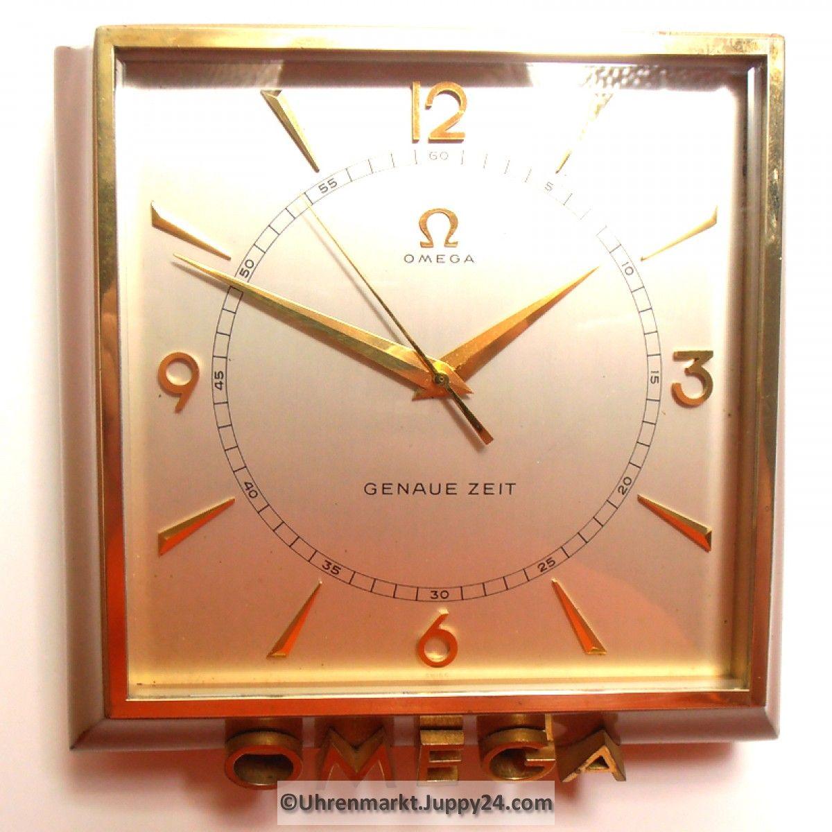 OMEGA Tischuhr – Pultuhr – Schaufensteruhr GENAUE ZEIT um 1950 mit 8