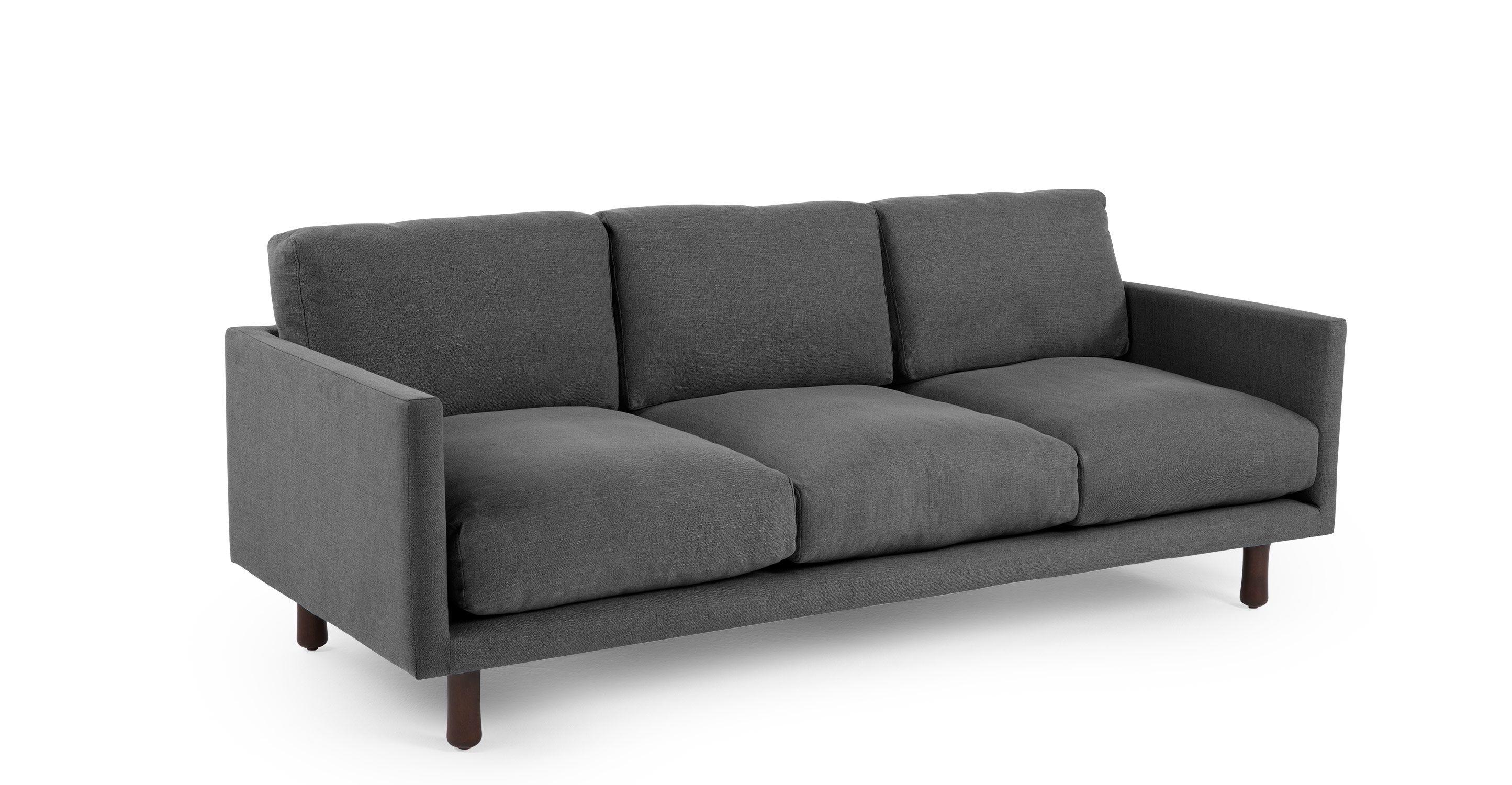 Carey Canape 3 Places Ardoise Retro Sofa 3 Seater Sofa Sofa