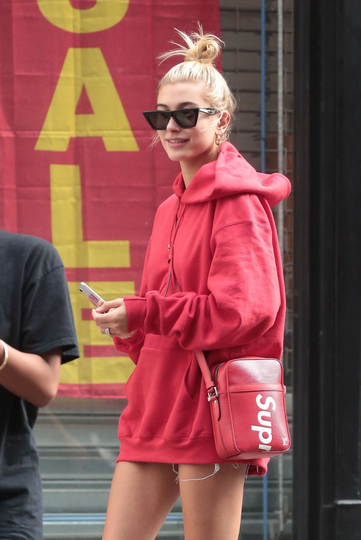 HAILEY BALDWIN in Oversized Red Hoodie Out in New York 09 ...