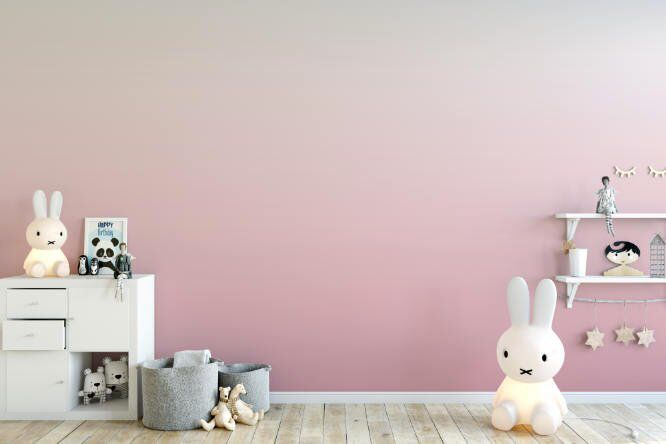Dusty Rose Ombre Removable Wallpaper, Soft Muted Dip Dye