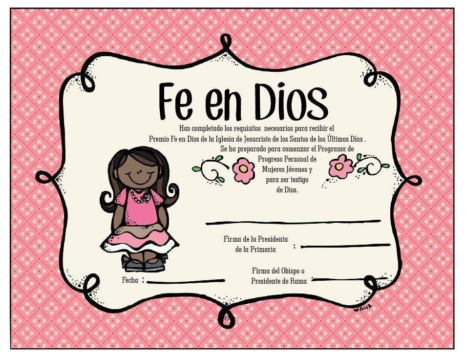 Certificado Fe en Dios para Niñas | Libros Cristianos | Pinterest ...