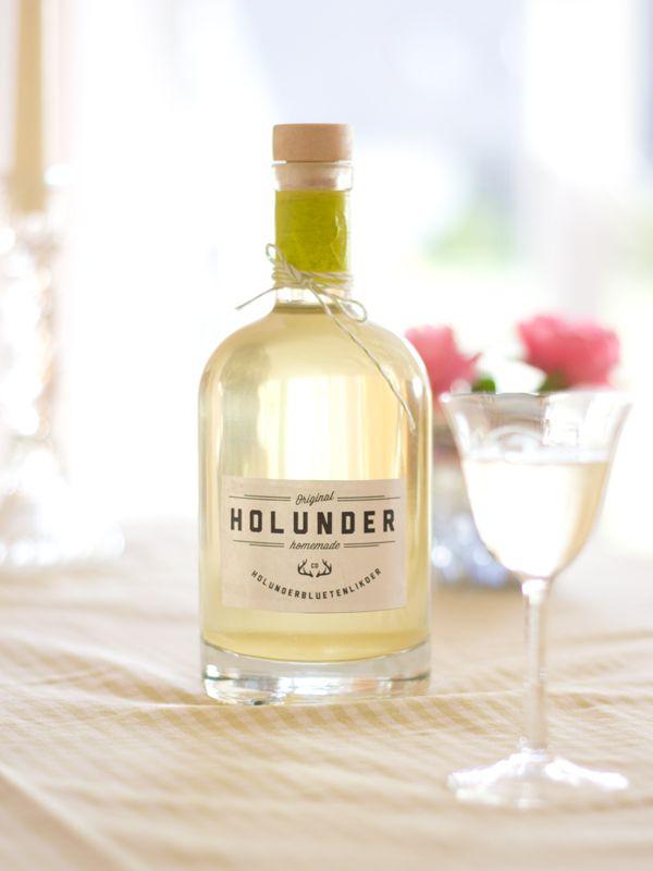 holunderlik r rezept mit etiketten zum download eat drink party pinterest. Black Bedroom Furniture Sets. Home Design Ideas