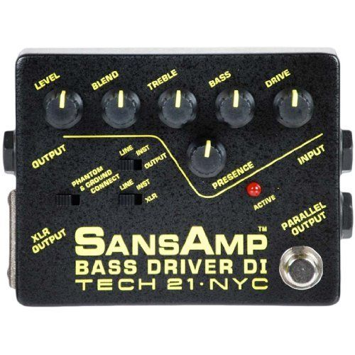 Tech 21 SansAmp Bass Guitar Driver DI Effects Pedal by Tech 21. $189.99. Much more than just a direct box, the SansAmp Bass Driver DI is capable of dialing up big vintage tube tones, bright modern slap sounds, gnarly distortions, and all in between. Three different outputs to drive power amps, recording desks, PA mixers, or simply enhance your current rig. Controls include Presence for definition and upper harmonic content; Blend to combine the proportion of direct signal and San...