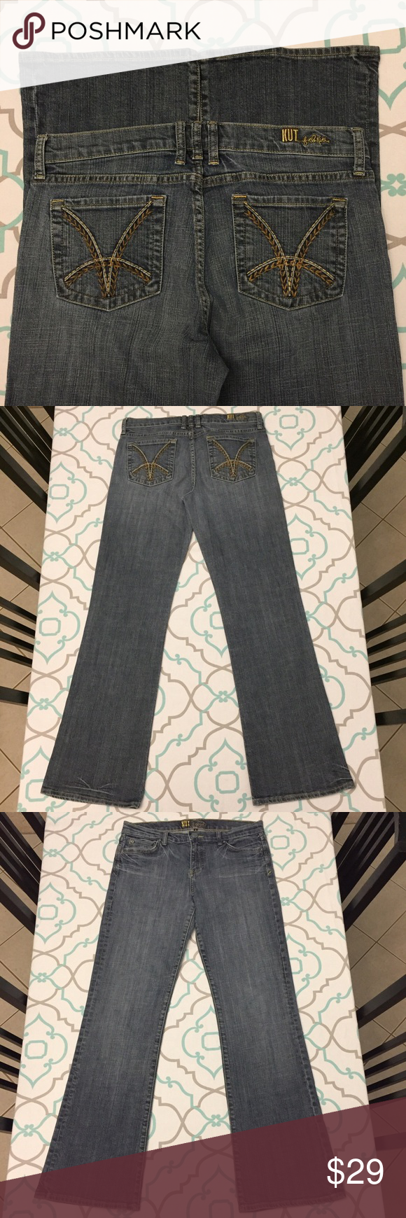 💘💙👖Kut From the Kloth Jeans 7/8 28 Boot👖💙💘 💘💙👖Kut from the Kloth. Beautiful Soft medium blue wash. Size 8 (7/29). EXcellent Used Condition. Ask me any questions!👖💙💘 Kut from the Kloth Jeans Boot Cut