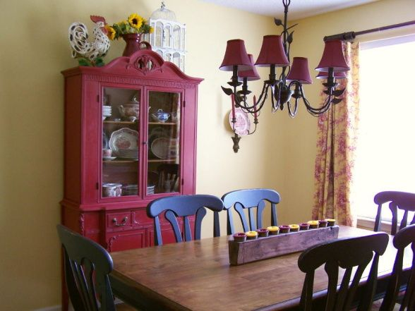 Country French Cottage Dining Room Roosters And Toile Red Painted Hutch Sunny Provence Yellow Walls