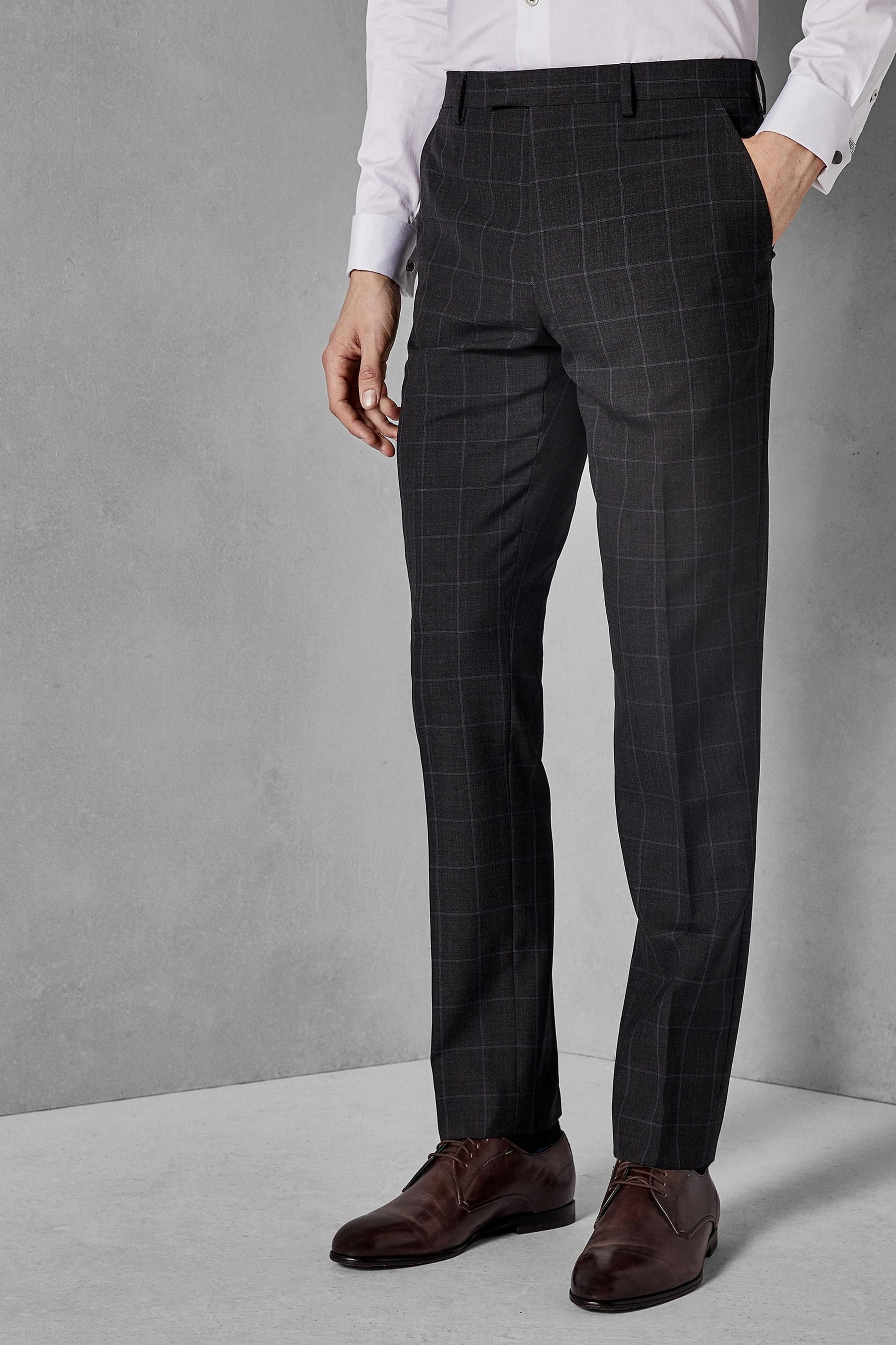 974849589a351e Mens Ted Baker Charcoal Zemla Sovereign Windowpane Suit Trouser - Grey   Menssuits