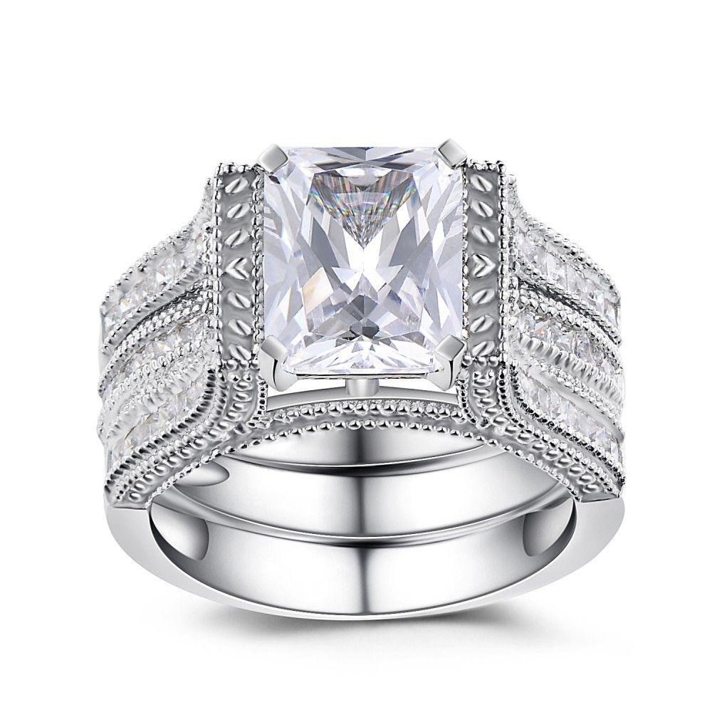4c6ed8f721c976 Princess Cut White Sapphire 925 Sterling Silver Women's Bridal Set Lajerrio  Jewelry
