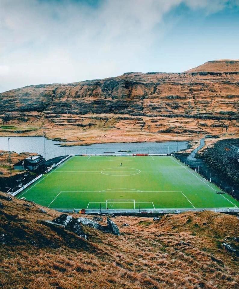 Football In The Faroe Islands Football Pitch Football Stadiums Island