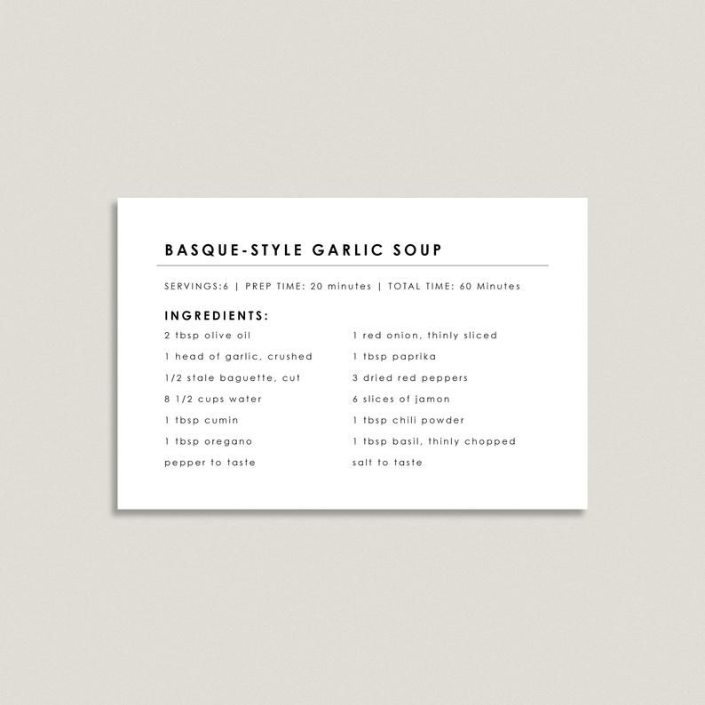 Editable Recipe Card Template Recipe Card Printable Etsy Recipe Cards Recipe Cards Template Printable Recipe Cards