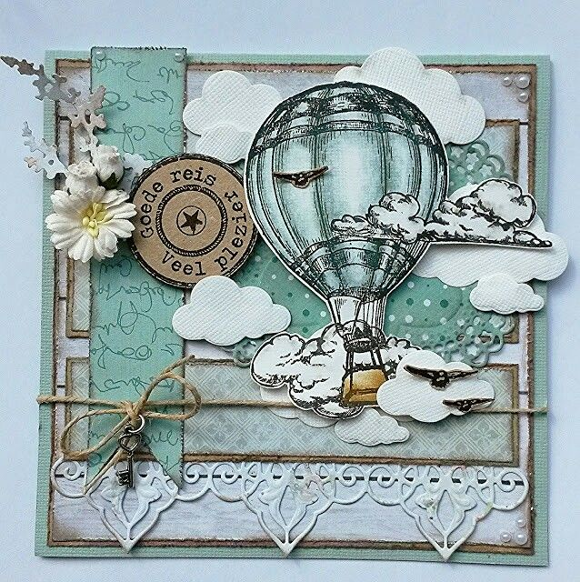 Скрапбукинг открытка парашют