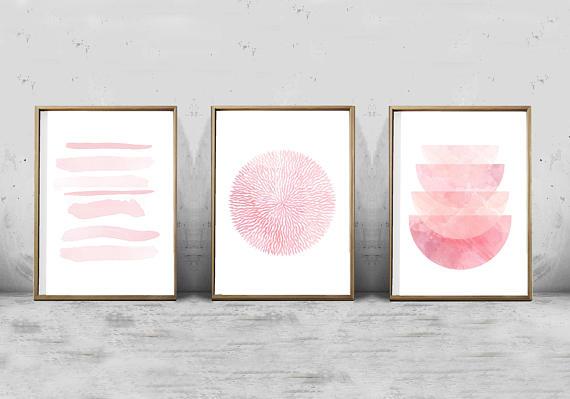 Pink Prints Set Of 3 Pink Wall Art Blush Abstract Watercolor