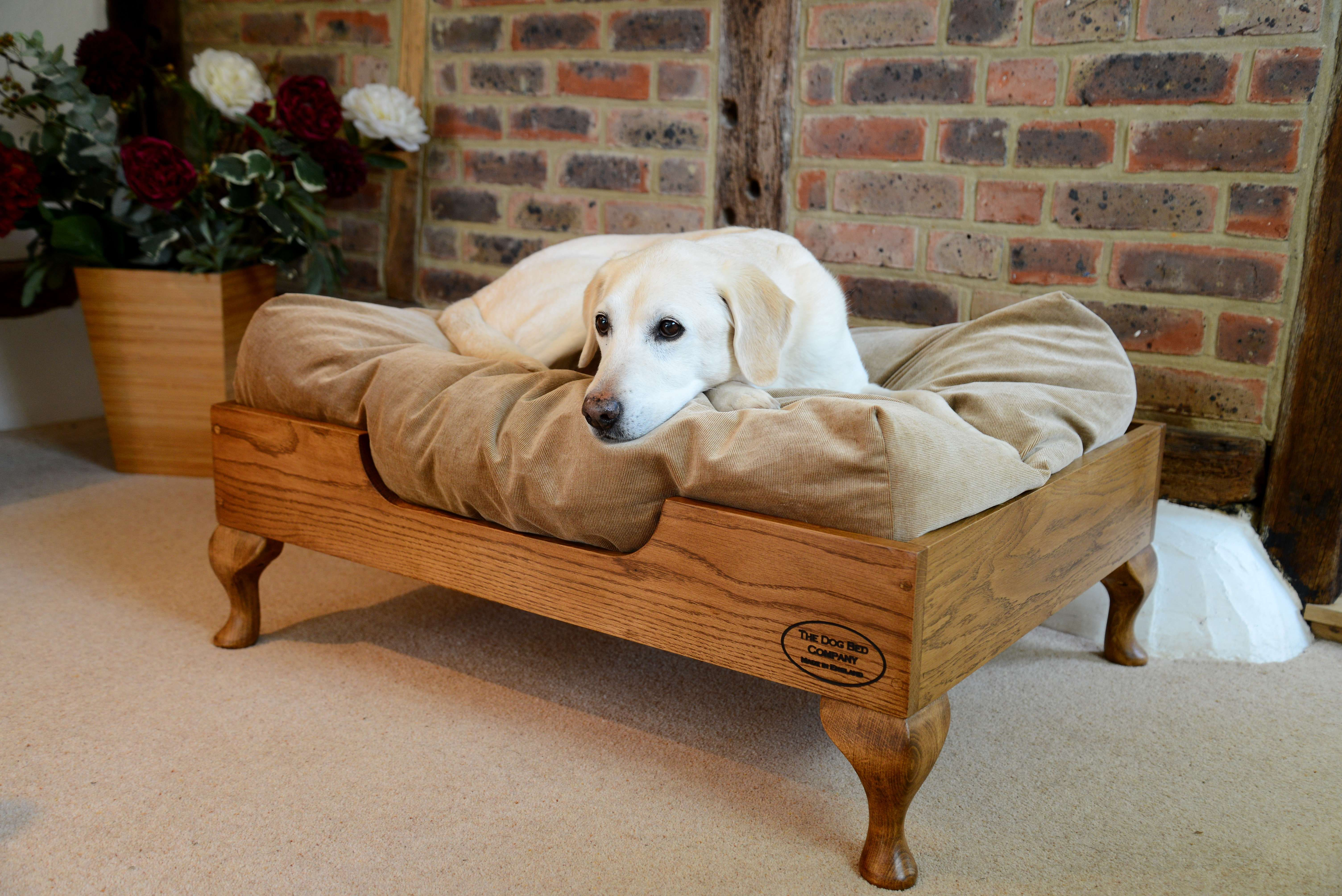 Raised oak handcrafted dog bed Dog bed, Wooden dog bed