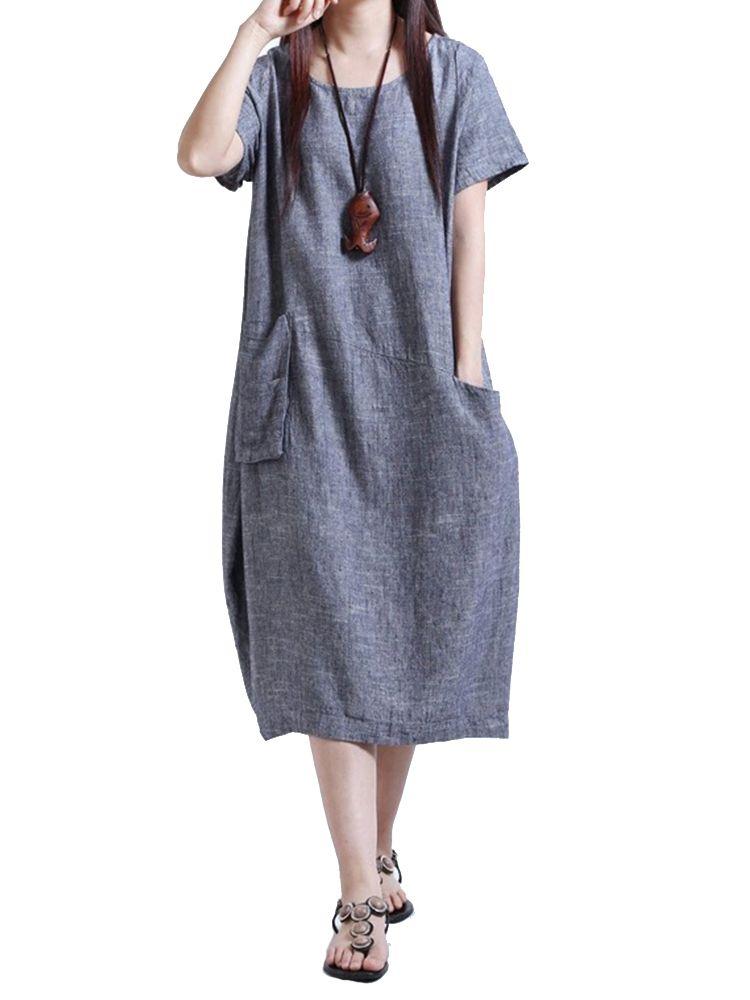 c34e575051 Pocket Vintage Linen Cotton Solid Color Short Sleeve Women Shirt Dress