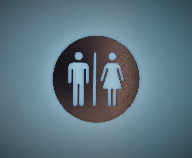 Restroom Door Sign Metal Unisex Bathroom Sign Gold All Etsy In 2021 Unisex Bathroom Sign Door Signs Bathroom Signs