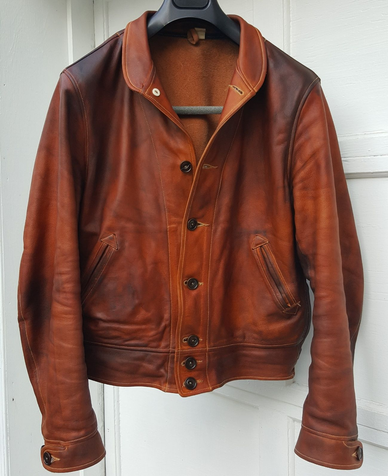 Mister Freedom Campus Leather Jacket Natural Full Grain Cowhide