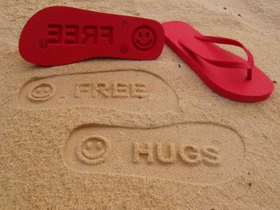16de44542fec6 Impressionable Beach Sandals - Custom Sand Imprint Flip Flops Print  Personalized Messages (GALLERY)