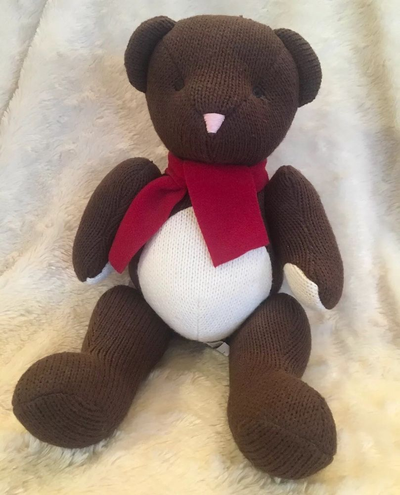 Details About Pottery Barn Kids Brown Knit Jointed Teddy