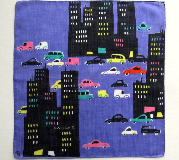 Vintage Swissair Nighttime Cityscape w Cars Handkerchief - Signed by Designer Fritz Butz - Big City Traffic, Lighted Skyscrapers at Night
