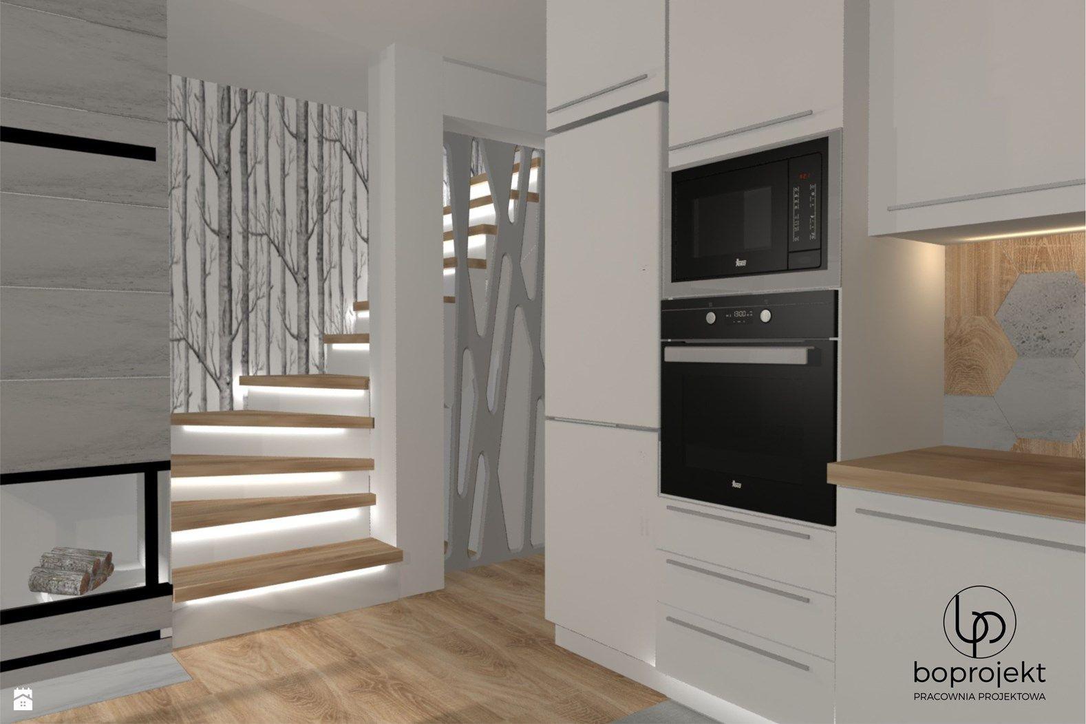 Kuchnia Biała Z Drewnem Zdjęcie Od Boprojekt Pracownia Projektowa