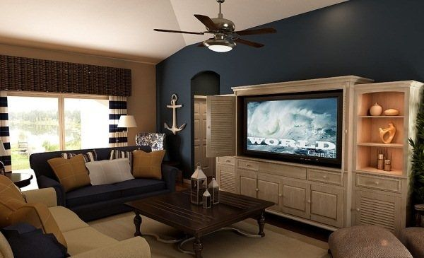 Blue Accents In Living Room
