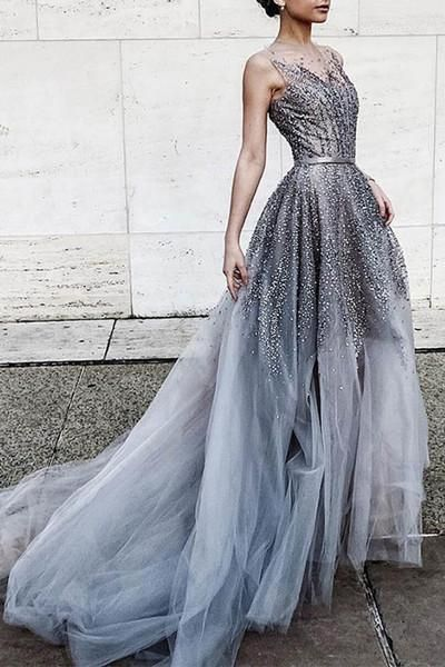 86a9a5875ff Gray tulle sequins round neck see-through long prom dress