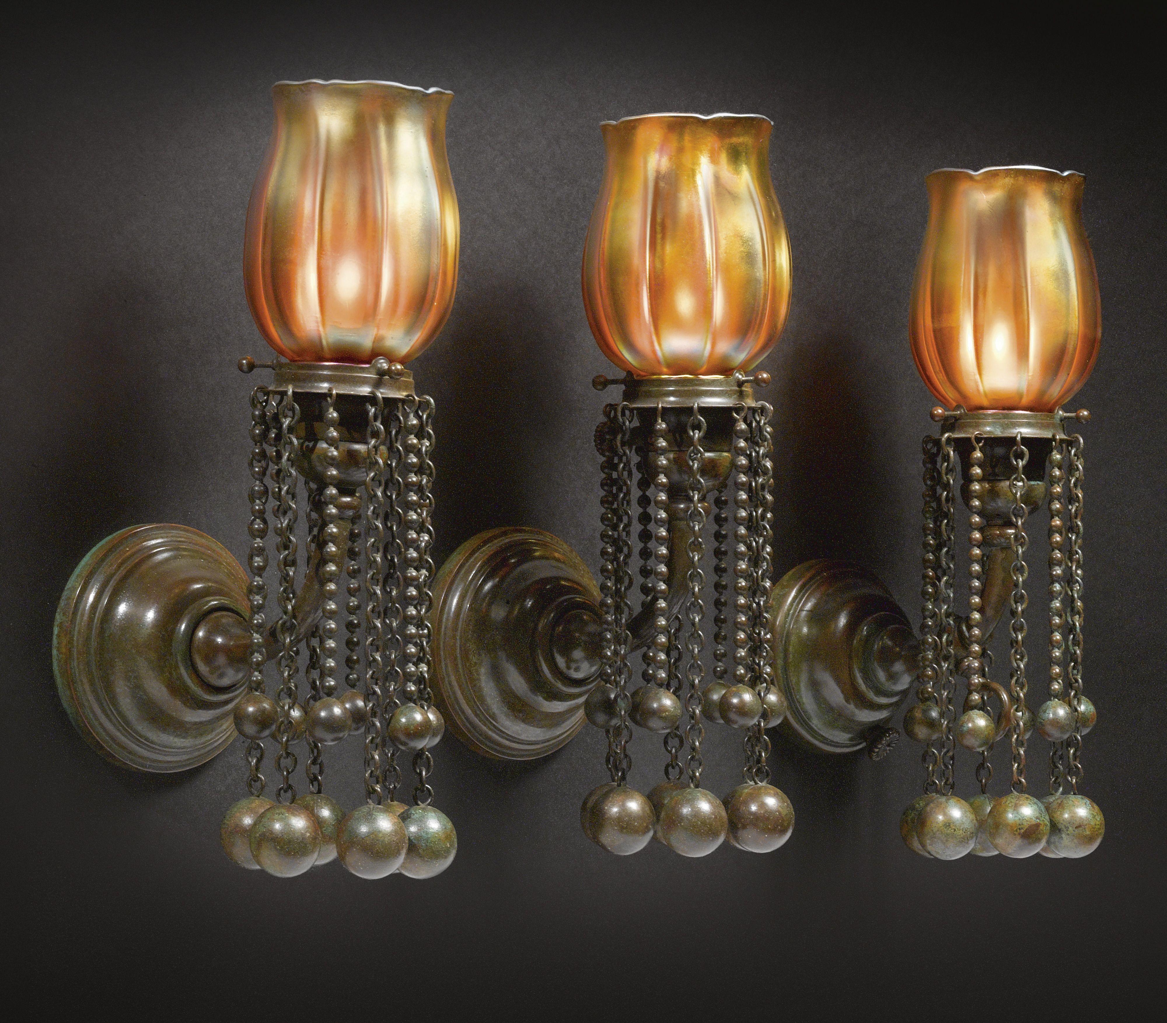 Tiffany Studios Three Rare Moorish Sconces En Suite With