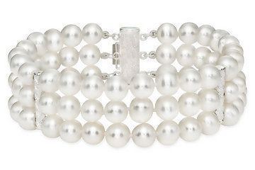 Cultured Pearl Triple Strand Bracelet W Sterling Silver Clasp At Ice