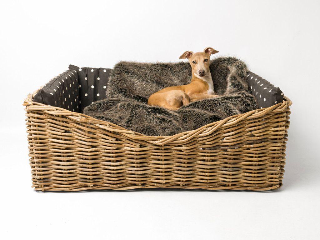 Save 10 Dressed Greywash Rattan Dog Basket Faux fur