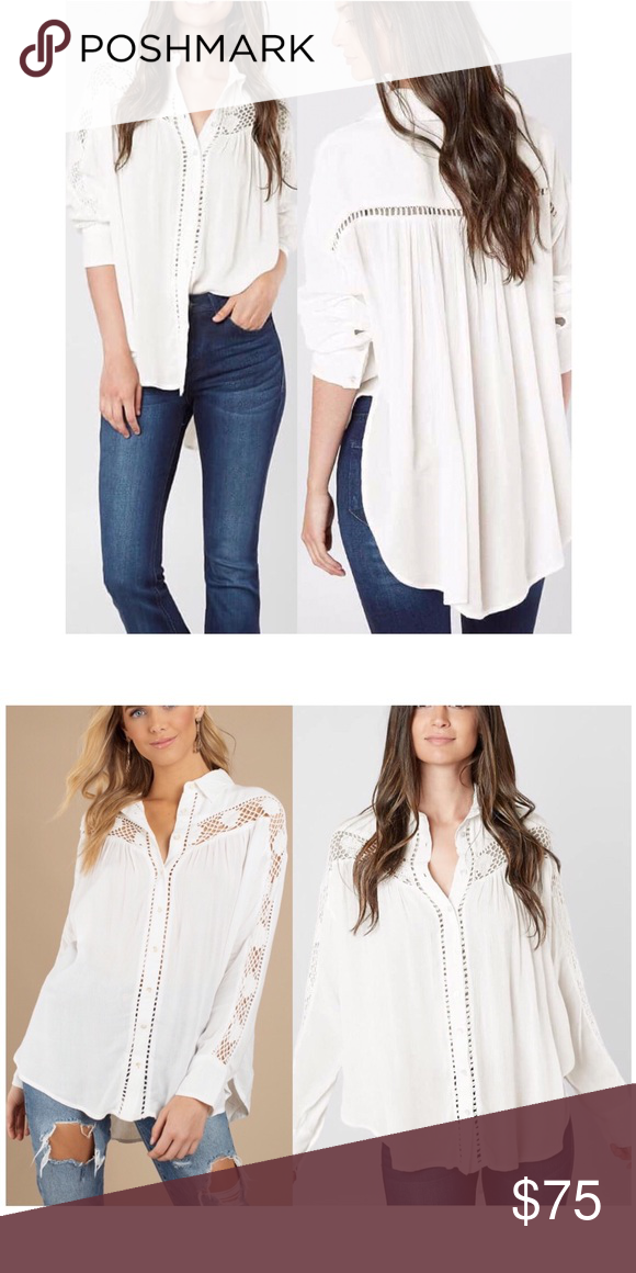 188978035a11b7 FREE PEOPLE Boho Ivory Button Down Shirt Beautiful Free People's Katie Bird  ivory embroidered boho button down shirt. Featuring button up detailing, ...
