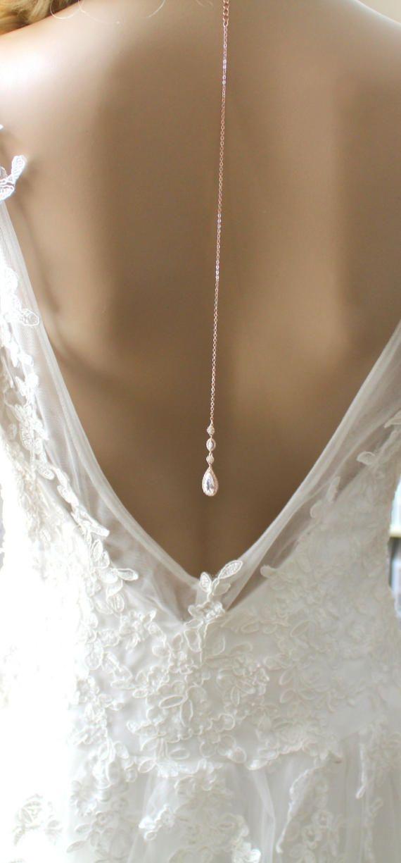 01aee923b54b Dainty Backdrop necklace Rose gold Back drop necklace Wedding ...