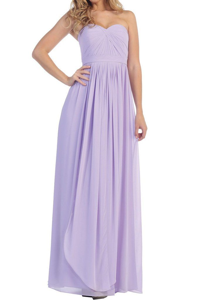 Affordable Long Chiffon Strapless Bridesmaid Dress Lavender, Sage ...