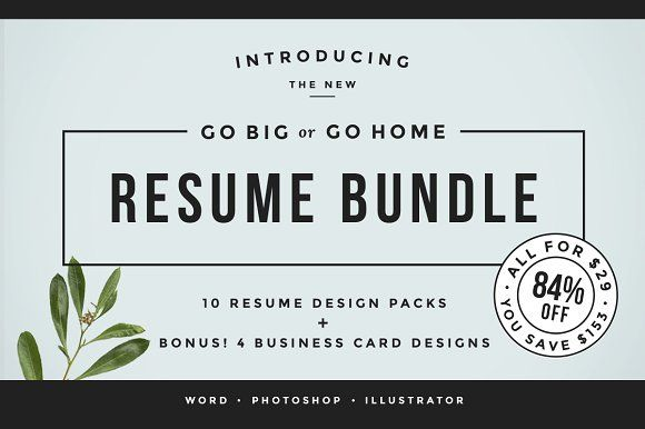 Go Big or Go Home! The Resume Bundle Resume cv, Letterhead and - go resume