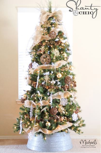 Burlap and Gold Christmas Tree by @Shanty-2-Chic.com #JustAddMichaels - Christmas Tree Reveal Holiday Décor & DIY Christmas, Christmas