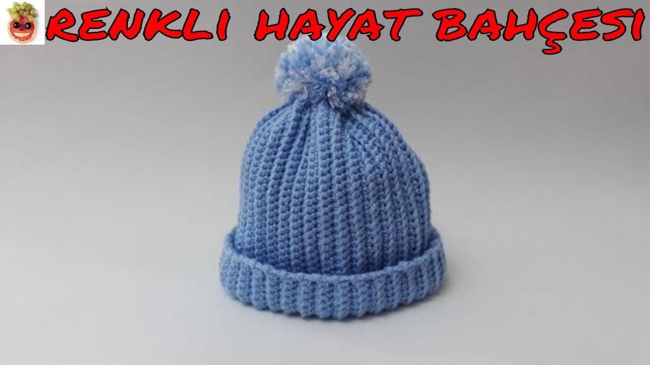 Kolay Horaşa Erkek Bebek Şapkası Yapılışı Türkçe Videolu