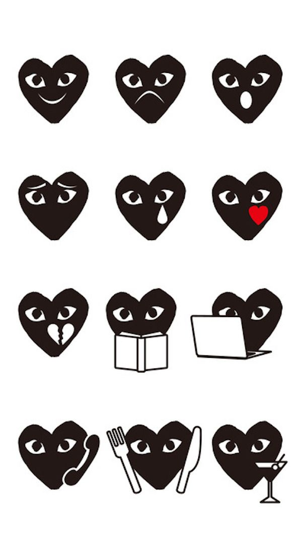 COMME des GARÇONS Debuts New Emoji App For iOS Featuring Iconic PLAY Heart Logo - DesignTAXI.com