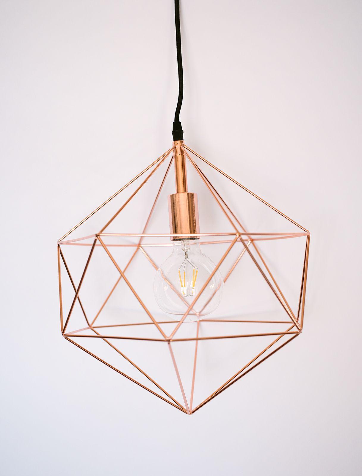Rose Gold Geo Light Fixture Geometric Pendant Light