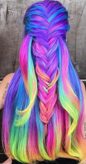 rainbow hair cheveux eriques